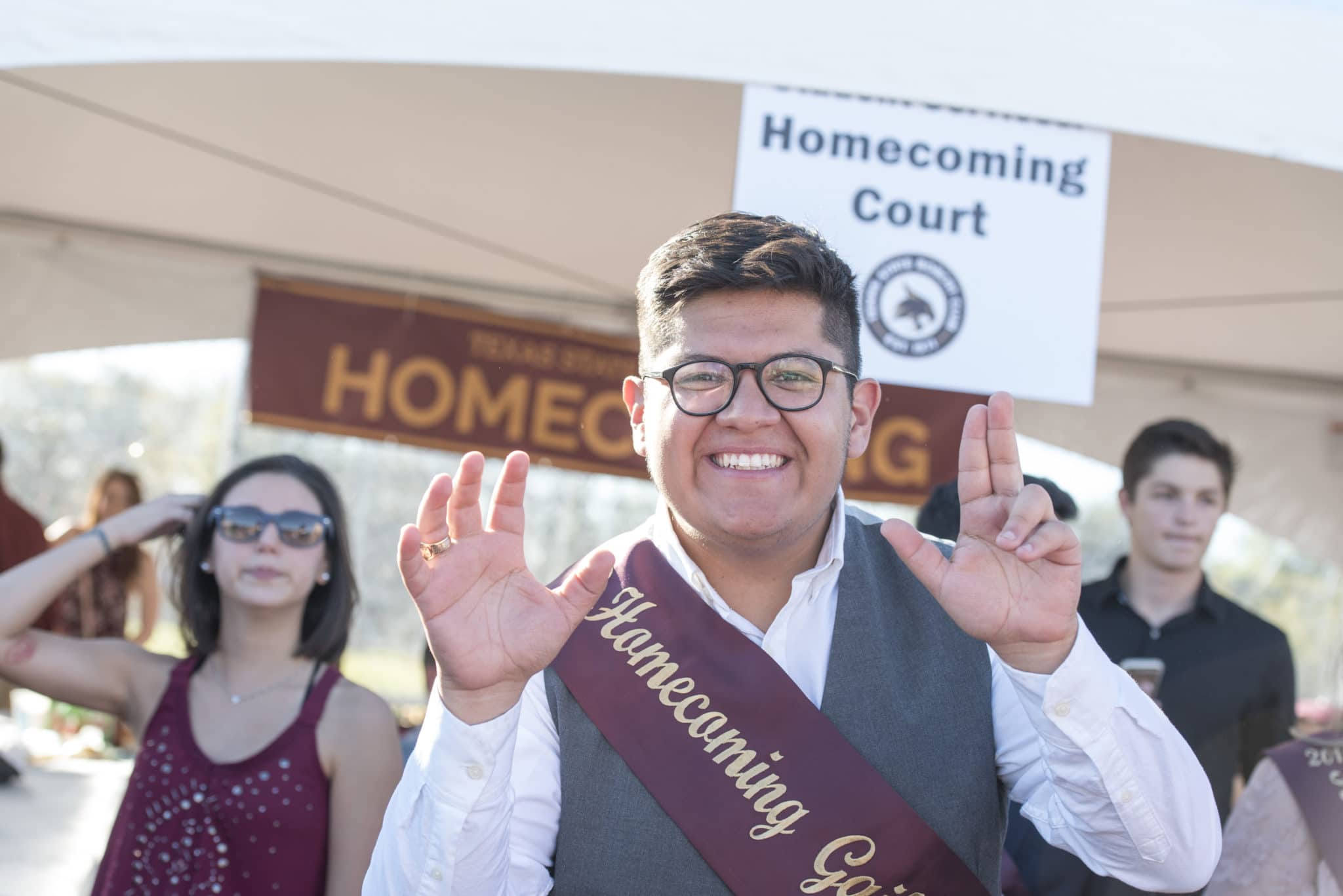 Male Gaillardian nominee showing off Bobcat pride at Homecoming tailgate