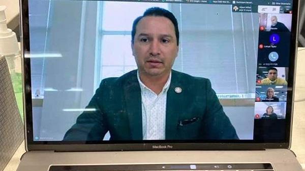 Mark Estrada hosts a virtual meeting