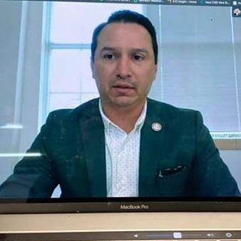 Mark Estrada hosts a virtual meeting
